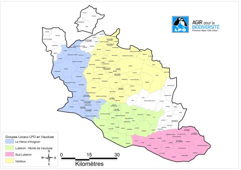 Carte des groupes locaux LPO PACA de Vaucluse