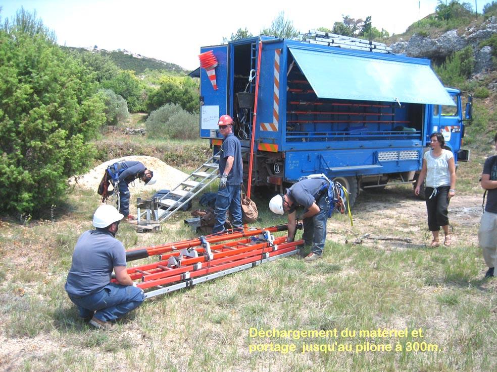 les techniciens déchargent le matériel