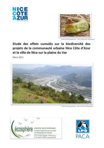 Étude des effets cumulés sur l'environnement des projets de la communauté urbaine Nice Côte d'Azur et la ville de Nice sur la plaine du Var