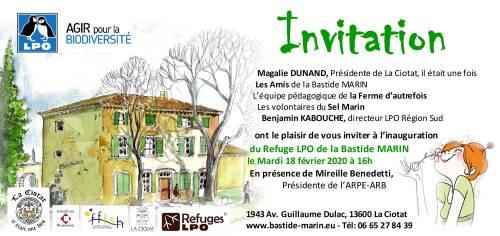 Carton d'invitation à l'inauguration du Refuge LPO de la Bastide Marin