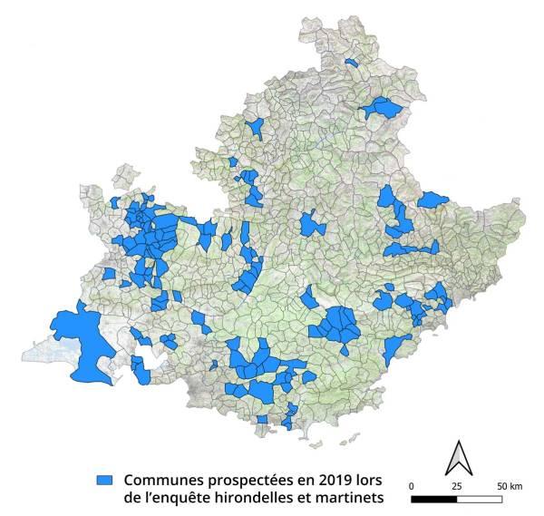 Communes prospectées en 2019 lors de l'enquête hirondelles et martinets